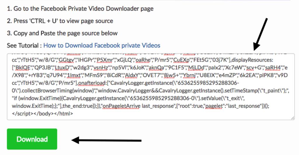 scaricare video da facebook codice sorgente