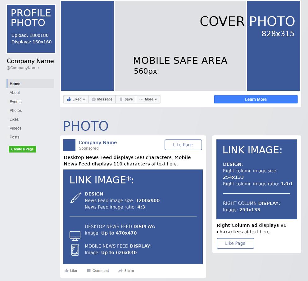Dimensioni immagini della pagina Facebook