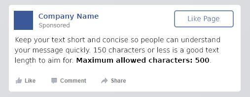 dimensione testo facebook caratteri