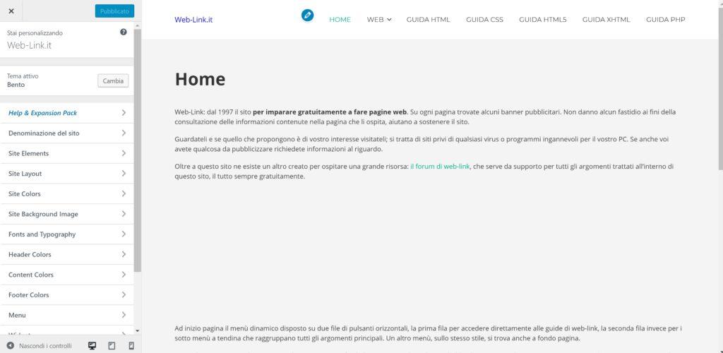 Personalizzazione del tema WordPress