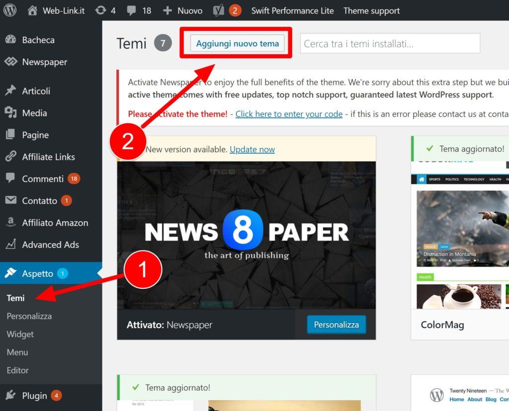 Cambiare tema WordPress