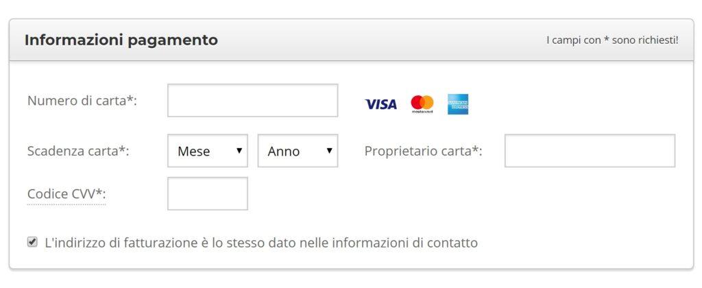 Informazioni di pagamento